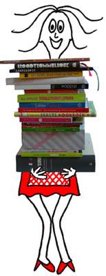 K met stapel kookboeken