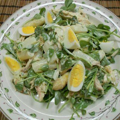 Salade met kip, asperges en dragon