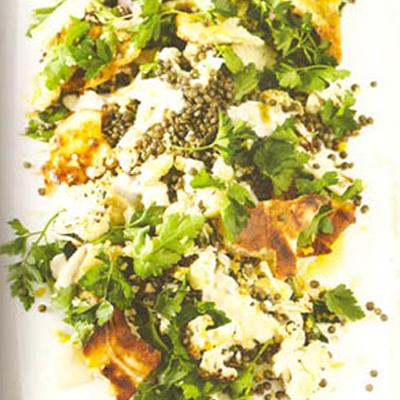 Salade met geroosterde bloemkool (vega)