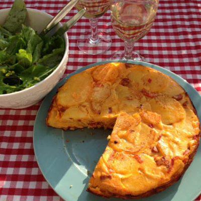Vispannetje en tortilla (2x campingkoken)