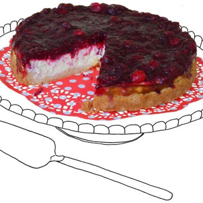 Feestdessert Cranberry-cheesecake