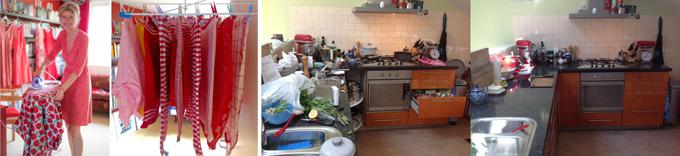 En niet te vergeten: jurkjes strijken, 3 miljoen theedoeken wassen, alsmaar weer de keuken opruimen...