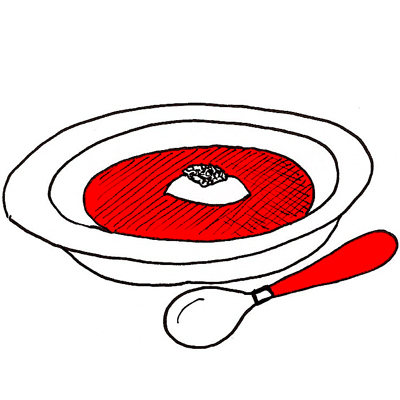 Bietjessoep met zure room en pesto