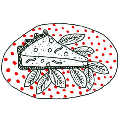 Quiche met ham, doperwten en munt