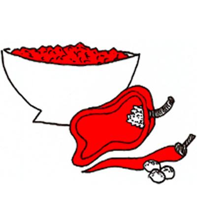 Dipsaus van paprika met hazelnoten (harissa)