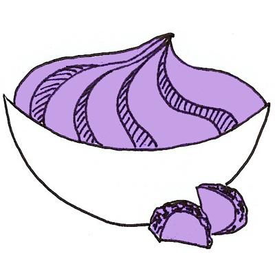 Lila aardappelpuree