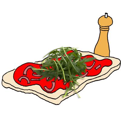 Pizza met gestoofde rode ui en rucola
