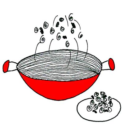 Gewokte spruitjes met walnoten
