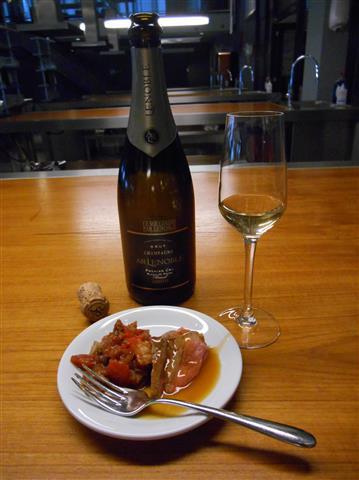Mijn favoriet: Gebakken runderlende met caponata en gemberjus, gecombineerd met een bijzonder geurige, houtgerijpte champagne blanc de noirs uit 2006