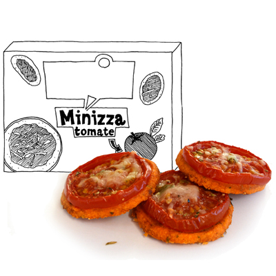 Minizza's (kazige tomaatborrelhapjes)