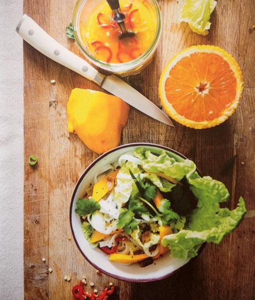 salade van chinese kool en mango - koken met karin