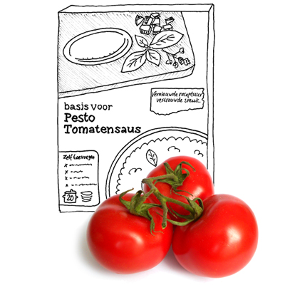 Pasta met pesto-tomatensaus