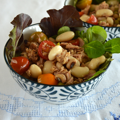 Griekse saladeboontjes met tonijn