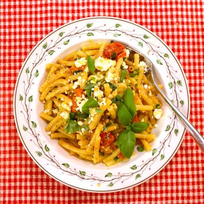 Pasta met geroosterde tomaten